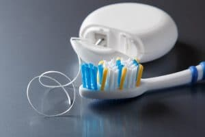 brushing and flossing
